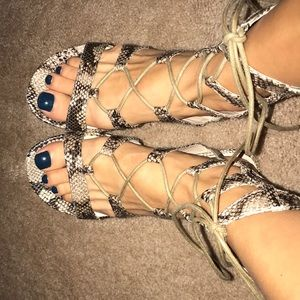 G.C. Shoes Lace Up Snake Print Sandals